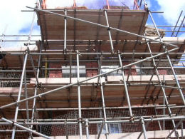 Scaffolding on commercial construction work